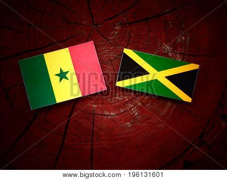 Senegal Flag With Jamaican Flag On A Tree Stump Isolated