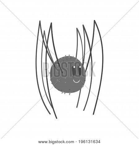 Cute cartoon black spider character vector Illustration isolated on a white background