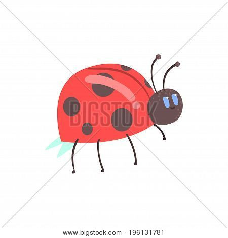 Cute cartoon red ladybug character vector Illustration isolated on a white background
