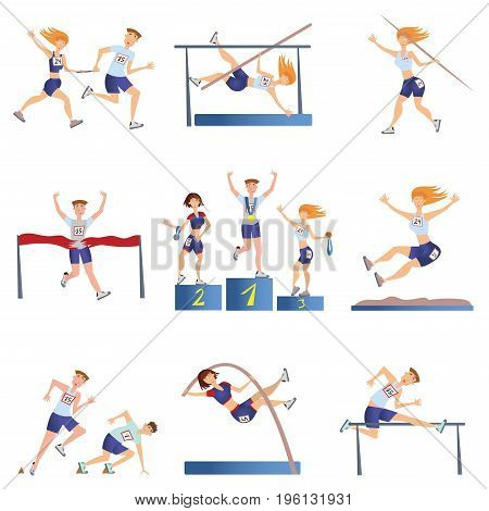 Light athletics set. Sports men and women engaged in various types of athletics. Vector illustration, isolated on white background.