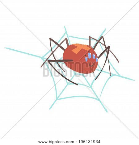 Cute cartoon spider character in a web vector Illustration isolated on a white background