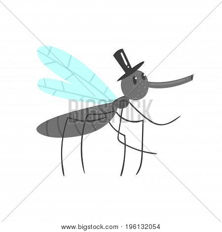 Cute cartoon mosquito character in a black hat vector Illustration isolated on a white background