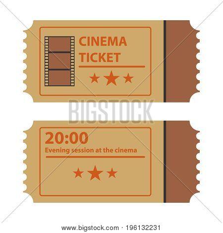 Retro movie ticket movie ticket logo. Flat design vector illustration vector.