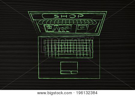 Laptop With Entire Shop Inside The Screen