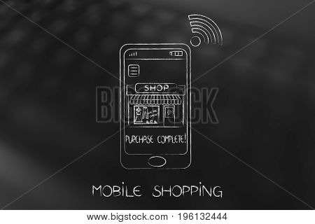 Smartphone With Entire Shop Inside The Screen