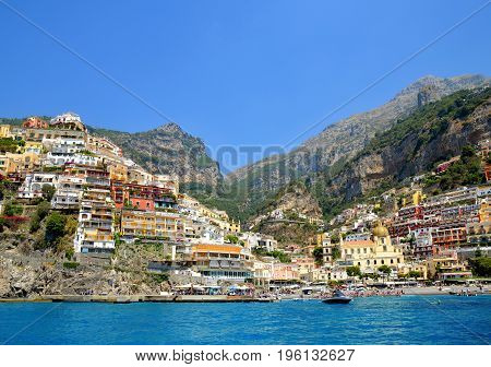 POSITANO, ITALY - July 06, 2017: View from the sea on a city Positano on the Amalfi Coast, Campania region.