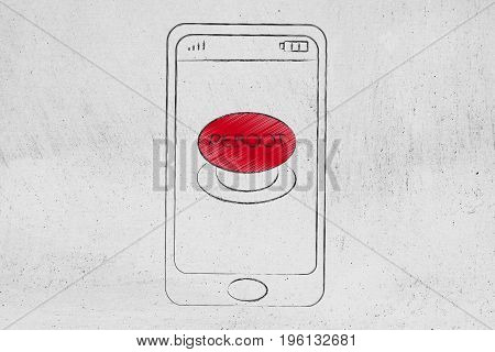 Smartphone With Red Reboot Button