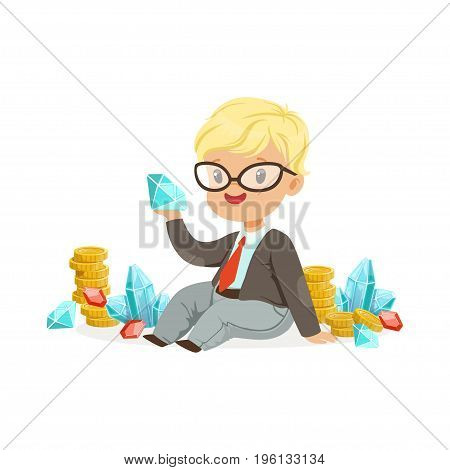 Cute little boy businessman sitting surrounded by stacks of gold coins, diamonds and rubies, kids savings and finance, richness of childhood vector Illustration isolated on a white background