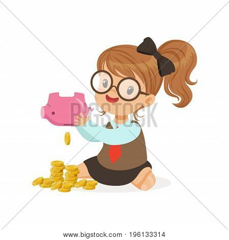 Cute little girl businesswoman shaking piggy bank full of money, kids savings and finance, richness of childhood vector Illustration isolated on a white background
