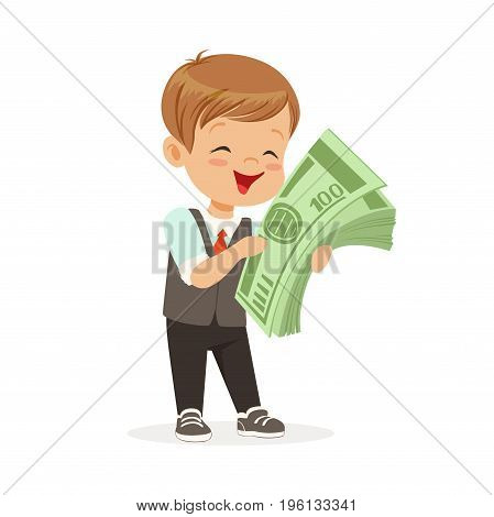 Happy little boy businessman holding a stack of money, kids savings and finance, richness of childhood vector Illustration isolated on a white background