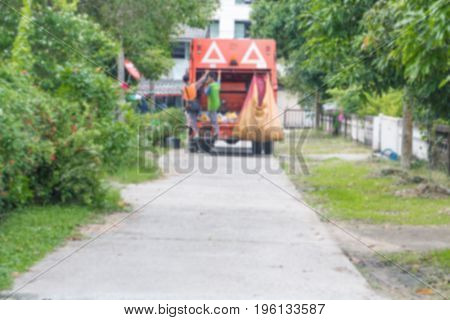 blur Garbage truck with workers store municipal garbage collector and copy space add text