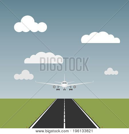 The plane comes to land the plane is on the runway. Flat design vector illustration vector.