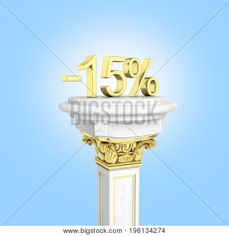 Gold Text 15 Percent Off Standing On The Pedestal Isolated On Blue Background 3D Render