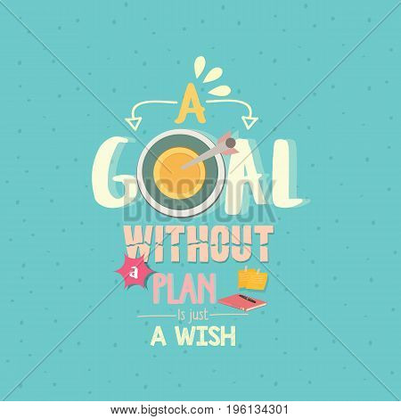 a goal without a plan is just a wish quotes word poster vector