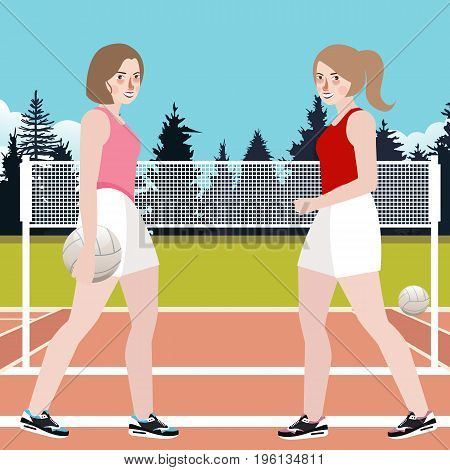 two woman play volley ball active sport competition in court game training with net and background vector