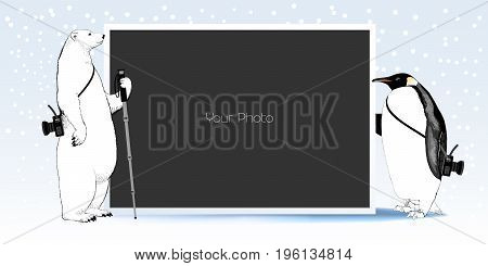 Scrapbook with New Year Christmas or winter background vector illustration. Cute penguin and white bear holding photo frame for collage