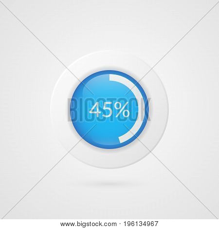 45 percent pie chart. Percentage vector infographics. Circle diagram isolated symbol. Business illustration icon for marketing presentation project planning download report web design