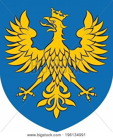 Coat of arms of Opole Voivodeship or Opole Province in Poland. Vector illustration from Giovanni Santi-Mazzini Heraldic 2003
