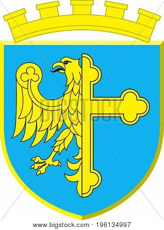 Coat of arms of Opole city in Opole Voivodeship or Opole Province in Poland. Vector illustration from Giovanni Santi-Mazzini Heraldic 2003