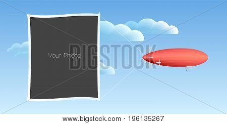 Photo frame collage scrapbook vector illustration. Design element with retro blimp and photo frame template