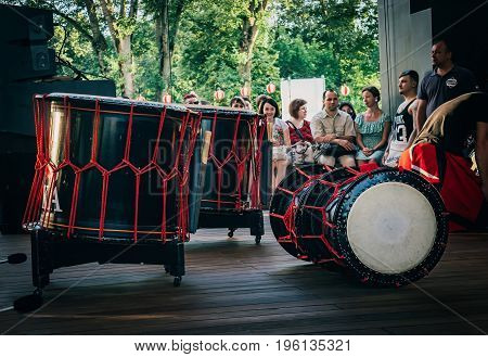 Moscow Russia - July 16 2017: Taiko drums o-kedo on scene background. Musical instrument of Asia Korea Japan China