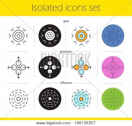 Abstract symbols icons set. Linear, black and color styles. Goal, directions, influence concepts. Isolated vector illustrations