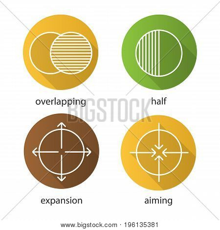 Abstract symbols flat linear long shadow icons set. Overlapping, half, aiming, expansion concepts. Vector outline illustration