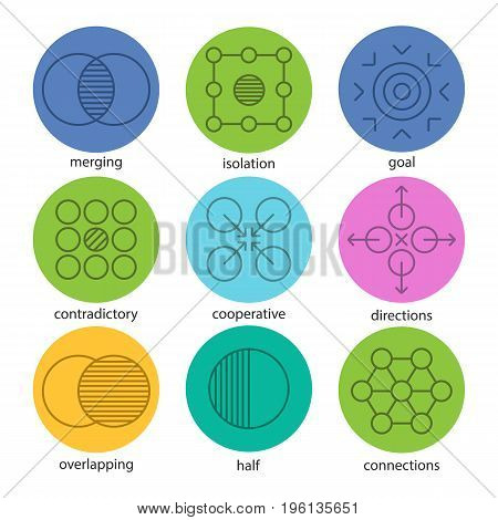 Abstract symbols linear icons set. Merging, isolation, goal, contradictory, cooperative, directions, overlapping, half, connections. Thin line outline symbols on color circles. Vector illustrations
