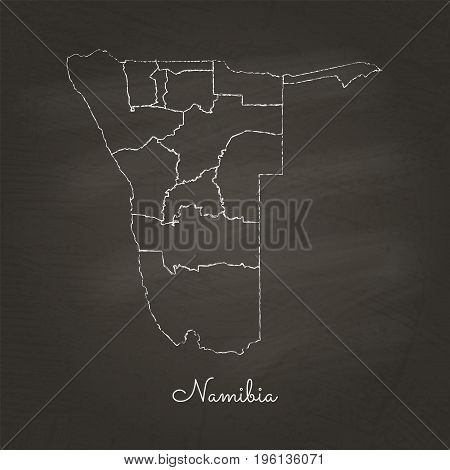Namibia Region Map: Hand Drawn With White Chalk On School Blackboard Texture. Detailed Map Of Namibi