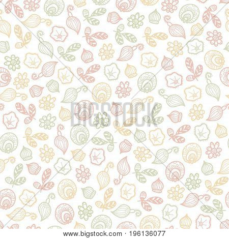 seamless vector pattern of fantasy colorful flowers