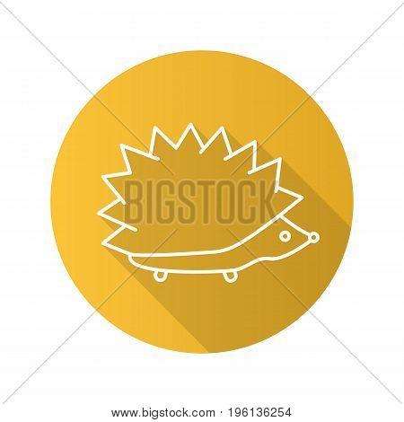 Hedgehog flat linear long shadow icon. Urchin. Vector outline symbol