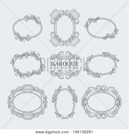 Detailed vintage frames in baroque style. Vector collection. Frame wooden in baroque style illustration