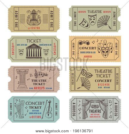 Vintage theatre or cinema tickets with different monochrome symbols of ballet or opera. Vector concert tickets and carnival illustrations set isolate on white
