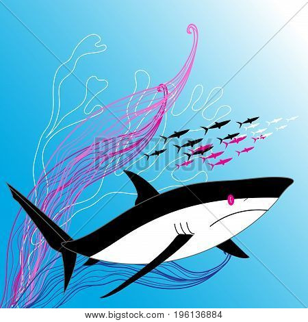Vector illustration of a large shark in sea water