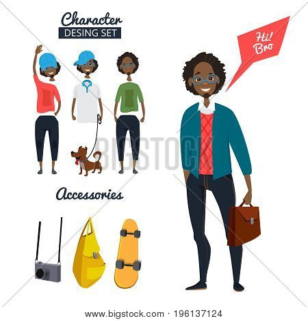 Cartoon character of male hipster in casual style clothes. Different specific details and objects. Character man with skateboard, bag and camera illustration