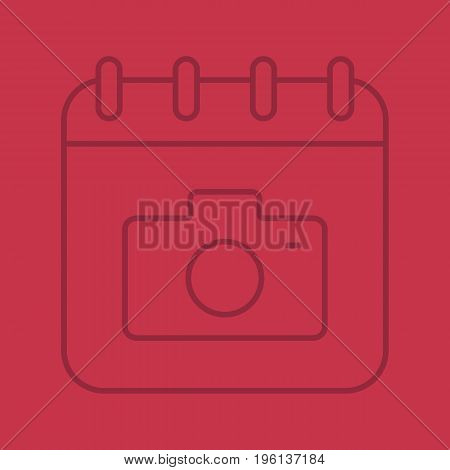 Photographer's Day color linear icon. Calendar page with photo camera. Thin line outline symbols on color background. Vector illustration