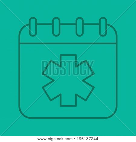 World Ambulance Day color linear icon. Calendar page with star of life. Thin line outline symbols on color background. Vector illustration