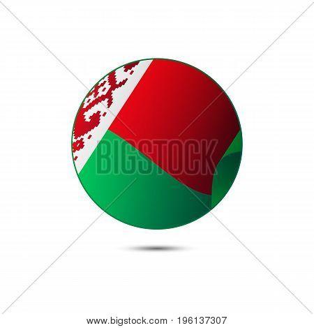 Belarus flag button on a white background. Vector illustration.