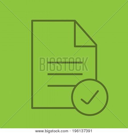 Approved document color linear icon. Document with tick mark. Thin line outline symbols on color background. Vector illustration