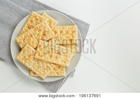 Snack Plate Of Crackers Closeup On The Table