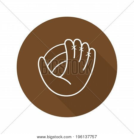 Baseball glove flat linear long shadow icon. Softball mitt. Vector outline symbol