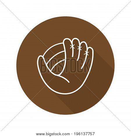 Baseball glove flat linear long shadow icon. Softball mitt. Vector outline symbol