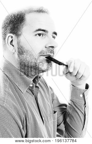 Middle-aged man concerned by hair loss bald baldness alopecia black and white on white background