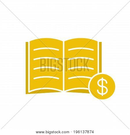 Buy book glyph color icon. Bookstore. Textbook with dollar sign. Silhouette symbol on white background. Negative space. Vector illustration
