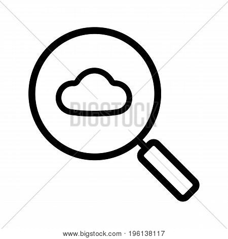 Cloud storage search linear icon. Thick line illustration. Magnifying glass with cloud contour symbol. Vector isolated outline drawing