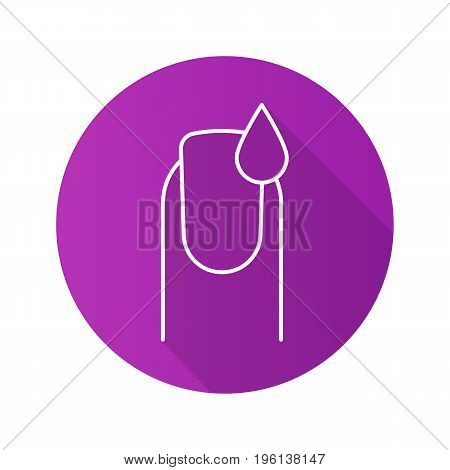 Nail polishing flat linear long shadow icon. Manicure. Woman's nail with polish drop. Vector outline symbol