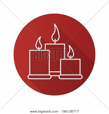 Spa salon candles flat linear long shadow icon. Aromatherapy. Vector outline symbol