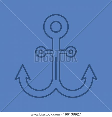 Anchor color linear icon. Thin line outline symbols on color background. Vector illustration