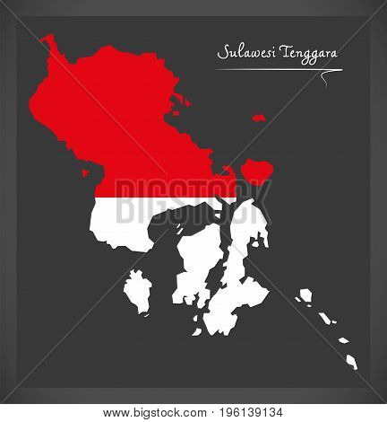 Sulawesi Tenggara Indonesia Map With Indonesian National Flag Illustration