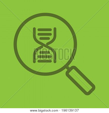 DNA research color linear icon. Magnifying glass with DNA chain model. Thick line outline symbols on color background. Vector illustration